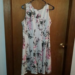 Fit and flare sleeveless cherry blossom dress